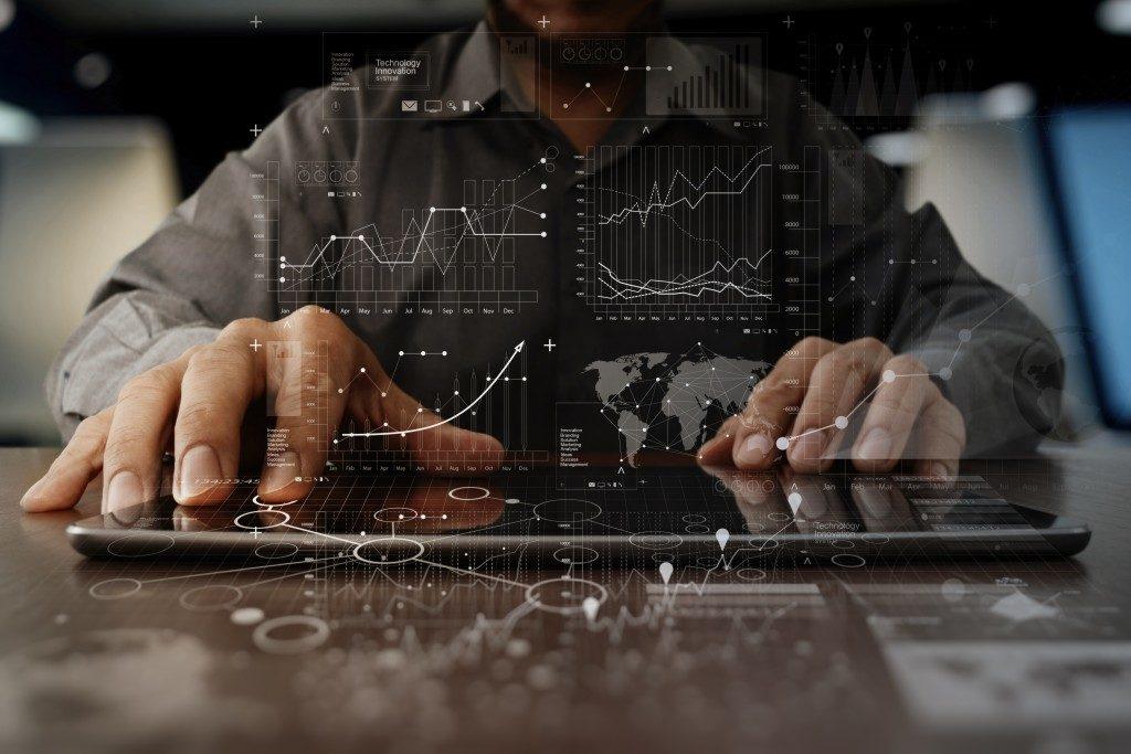 businessman hand working on laptop computer